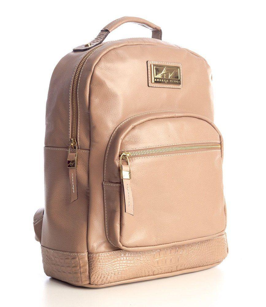 Mochila feminina de couro legítimo Andrea Vinci bege - Enluaze - Bolsas,  mochilas, roupas e acessórios c418ea2a4a