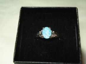 Simulated Swiss Blue Topaz Acrylic Stone Silver-tone Filigree Detail Ring - Size 8