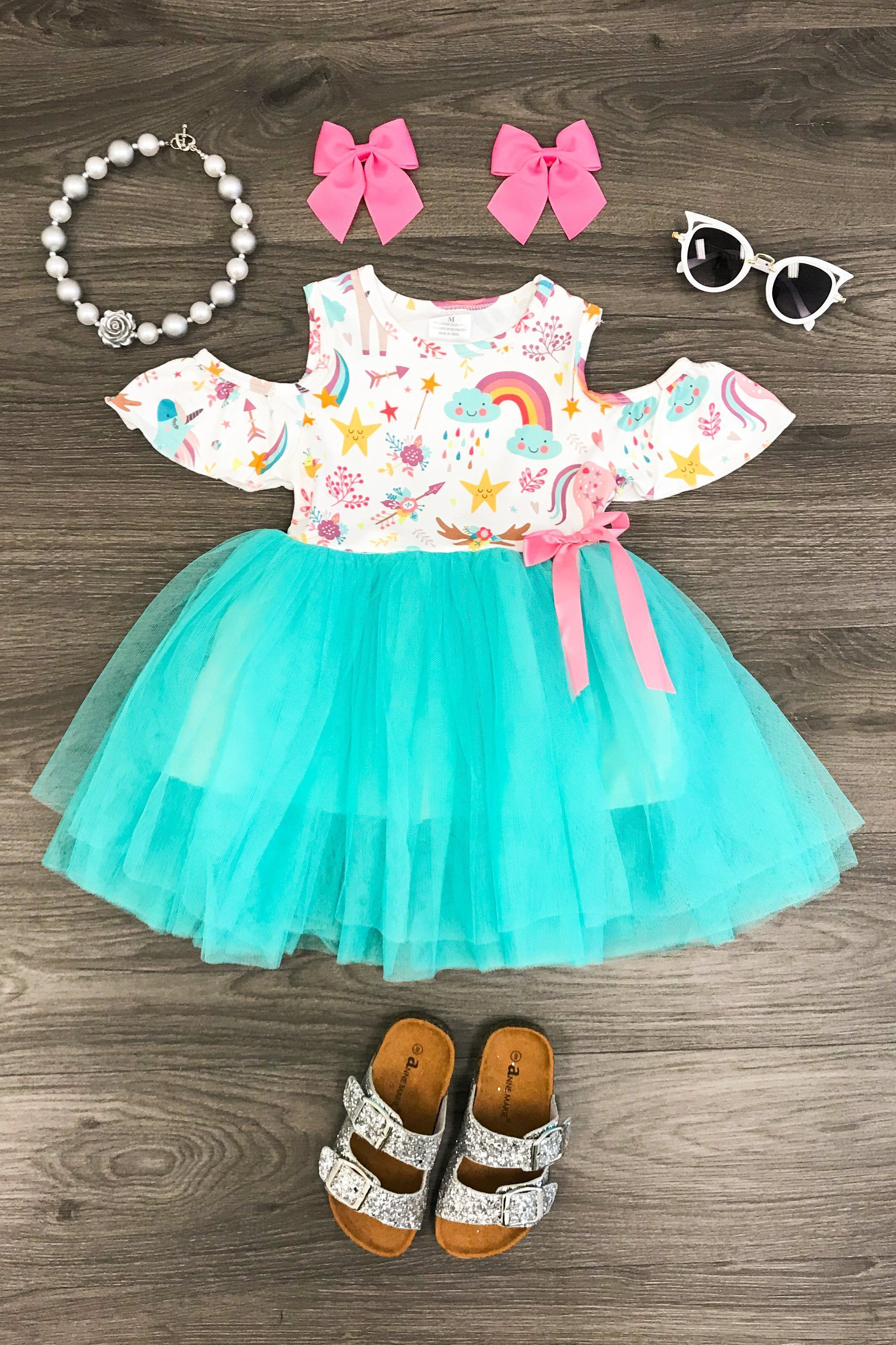 88cb969a94 Mint Unicorn Cold Shoulder Tutu Dress - Unicorn Dress - Baby Girl Sundress  - Toddler Girl Special Occasion Outfit - Unicorn Birthday - Party Dress ...
