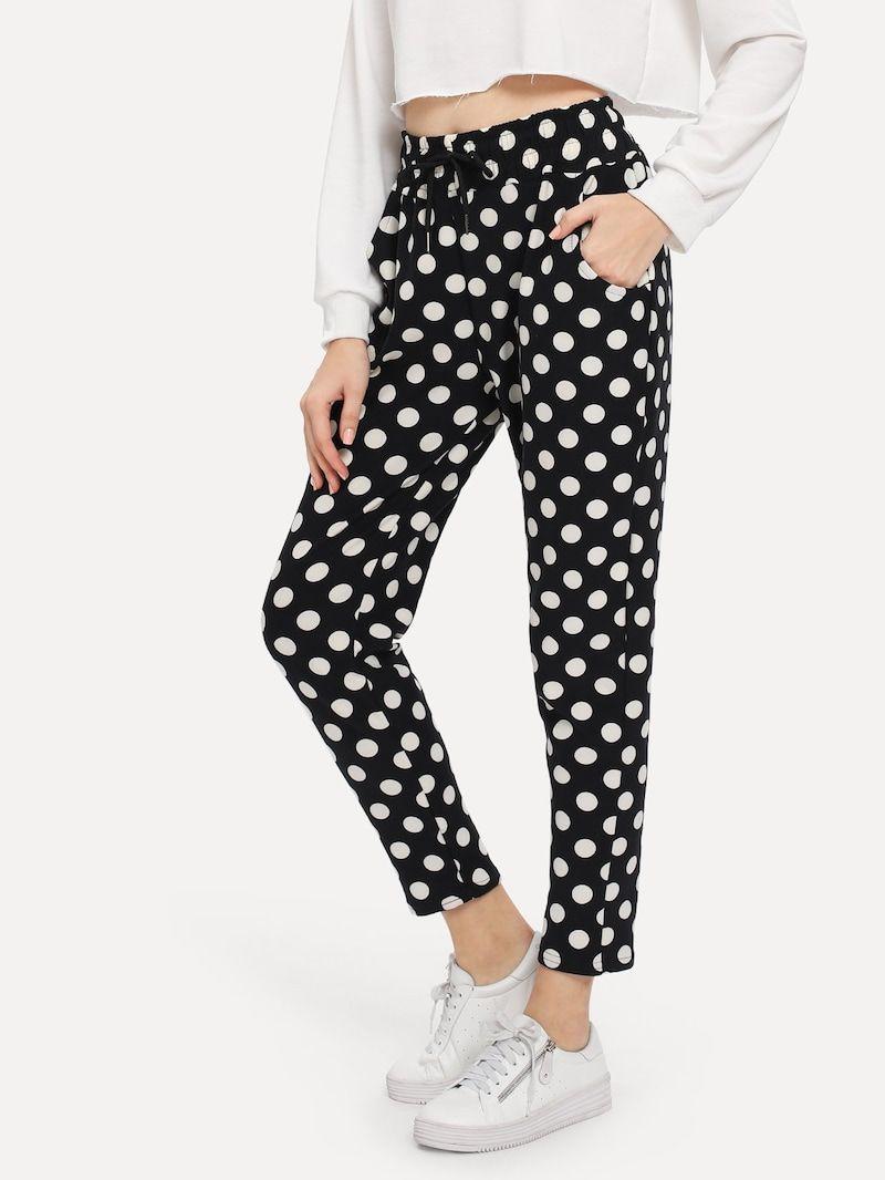 5da0561910 Pantalones con estampado de lunares de cintura con cordón -Spanish ROMWE