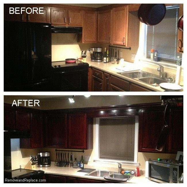 Ways To Refinish Kitchen Cabinets: Kitchen Cabinets Restained For Under 20 Dollars. Used
