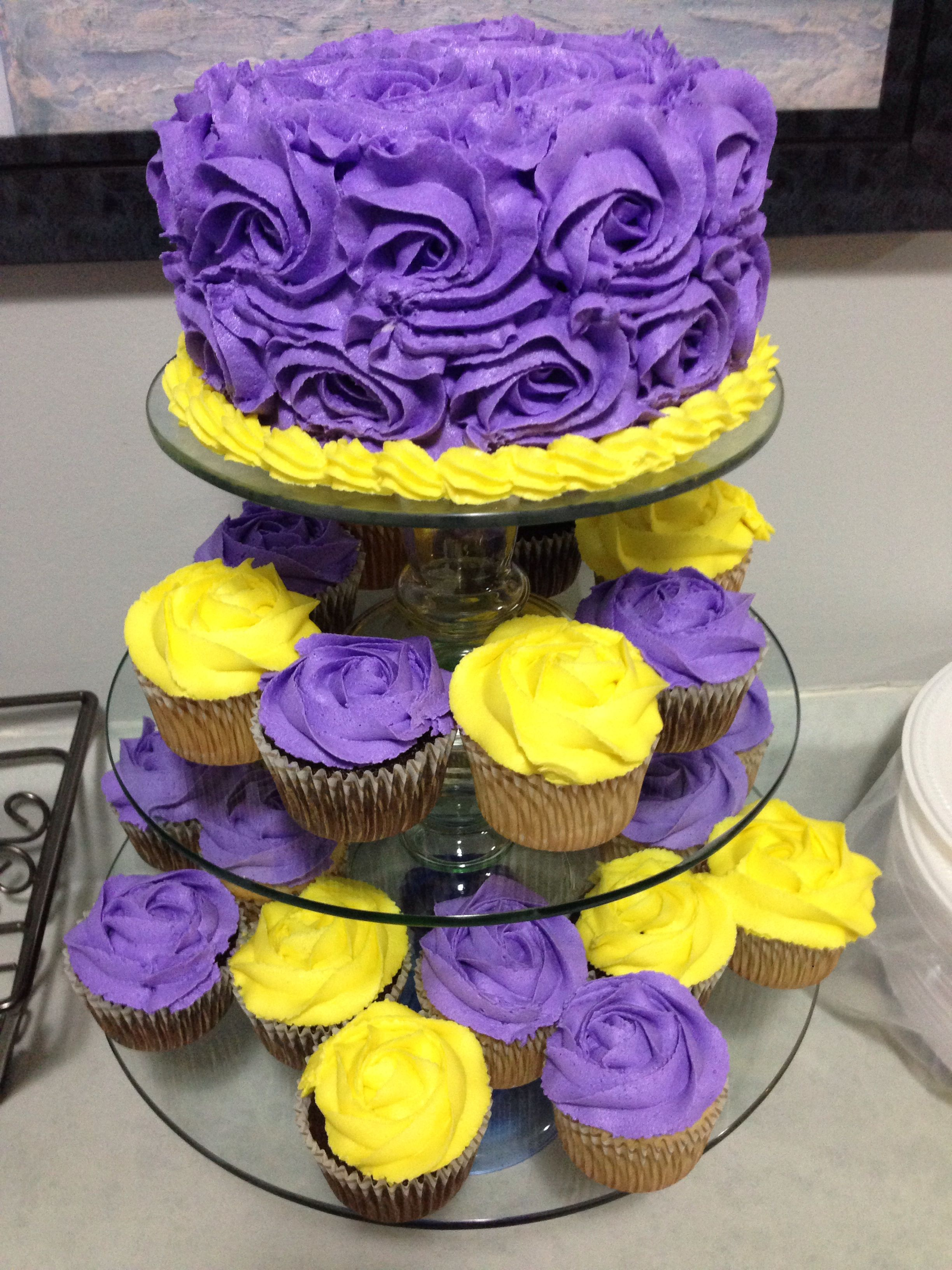 Purple Yellow Cake And Cupcakes With Images Yellow Birthday