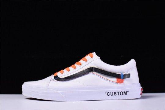 Custom Off White X Vans Old Skool Vn 0d3nb99 Off White Shoes White Shoes White Sneakers