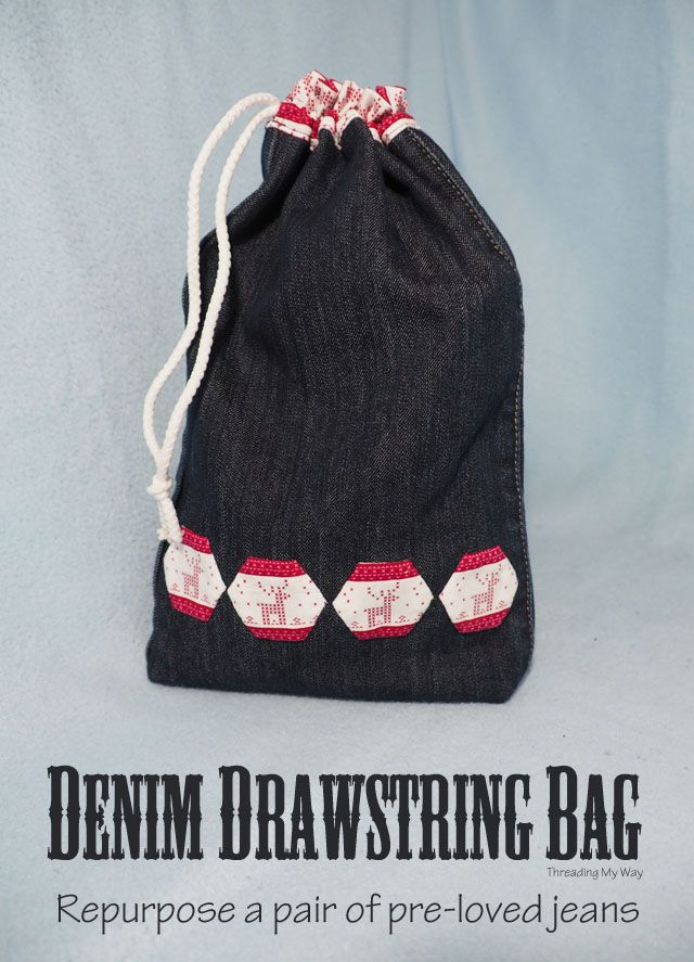 Repurpose a pair of pre-loved jeans and make a denim drawstring bag. Pop something inside and you have two gifts in one. Tutorial by Threading My …