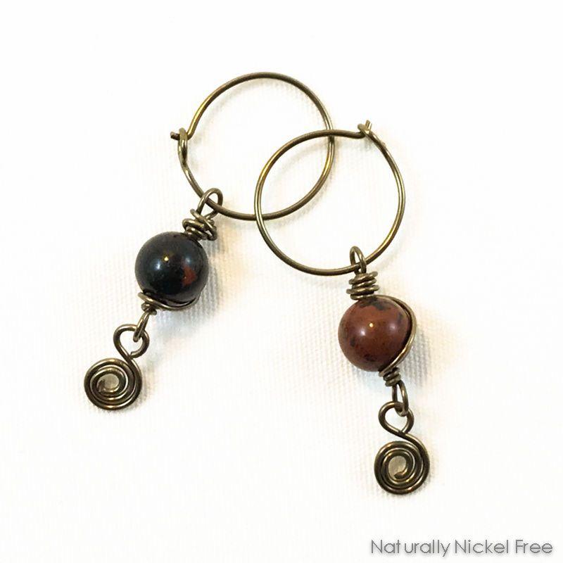 a5ecdf796 River Creek Jasper Earrings with Spiral Dangle   Nickel-Free ...