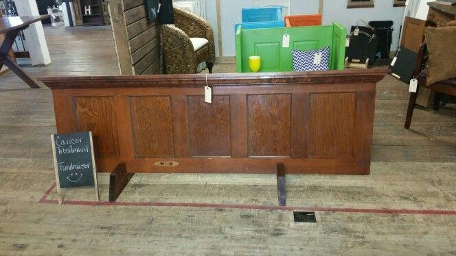 Old door headboard solid wood cherry stain