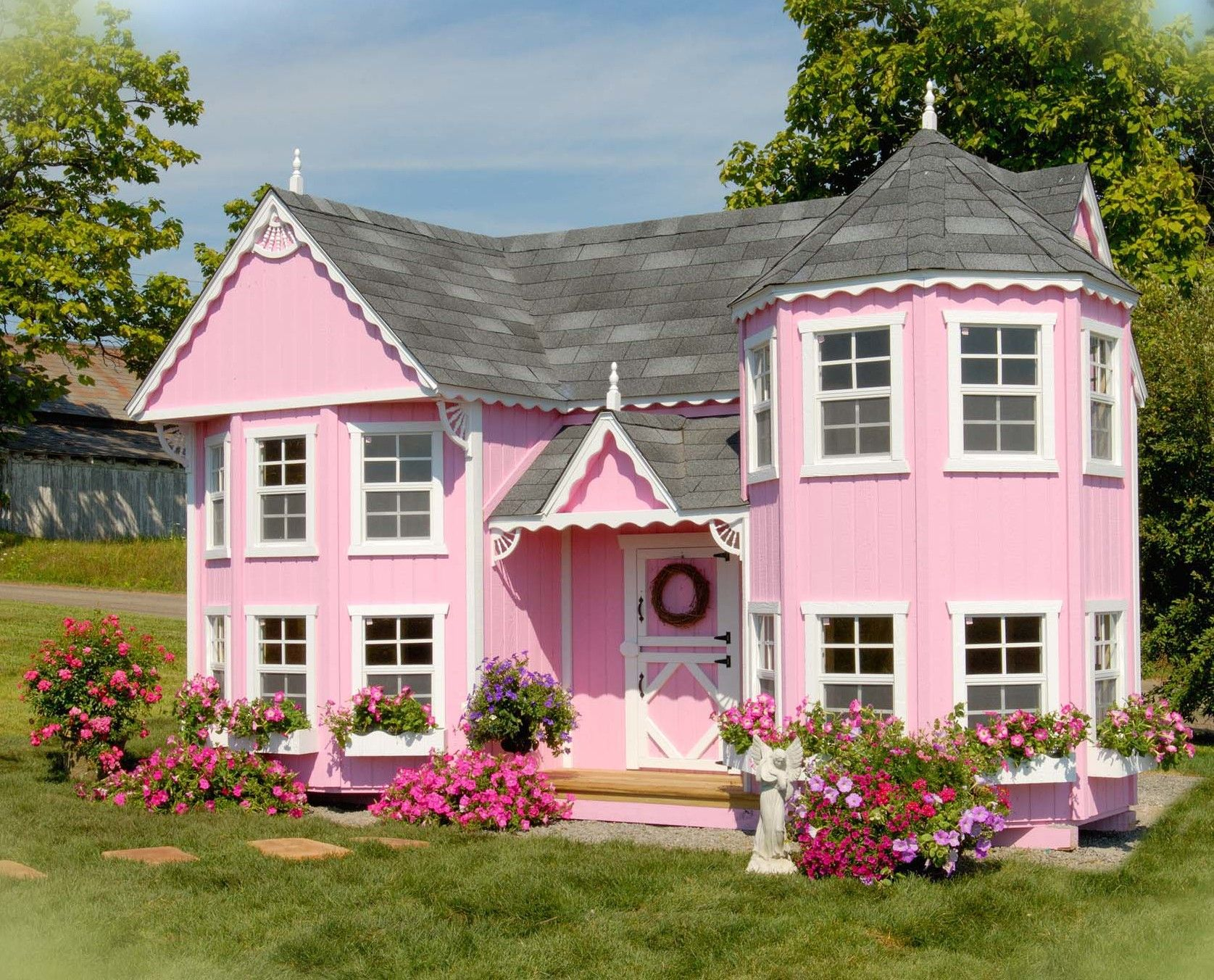 Little Cottage Company Sara S Victorian Mansion Playhouse Kit With Floor Mansions Little Cottage Play Houses