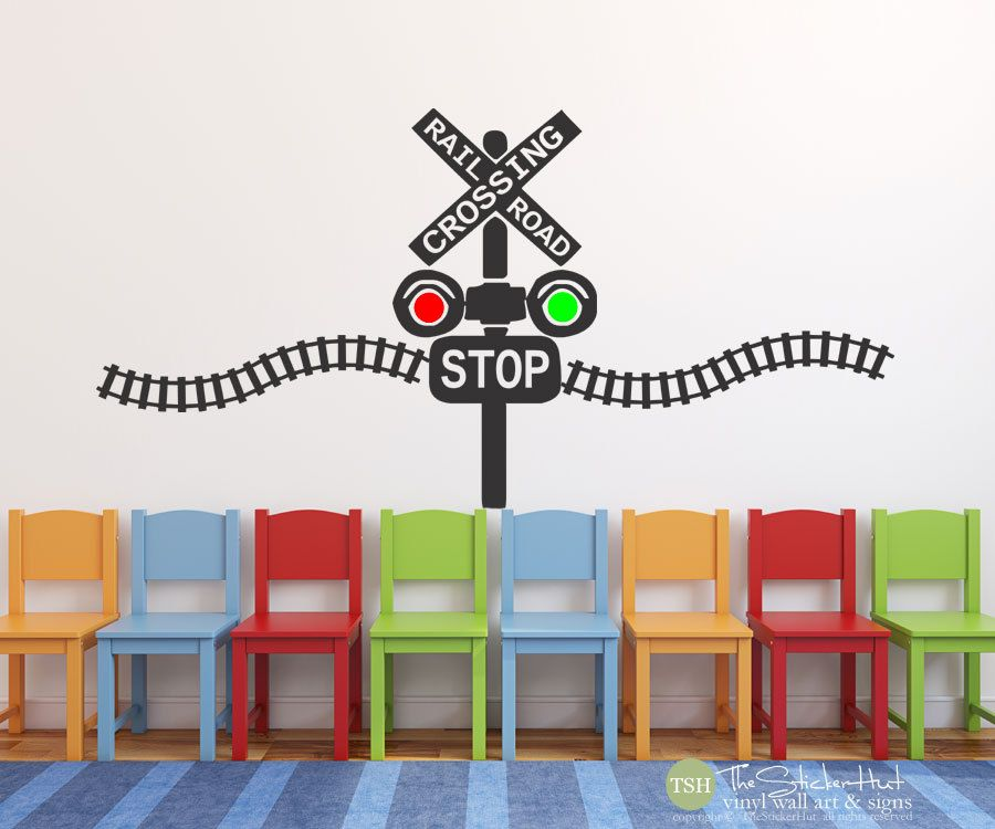 Railroad Train Crossing Lights With Train Track   Children Kids Boys  Nursery Or Bedroom   Vinyl