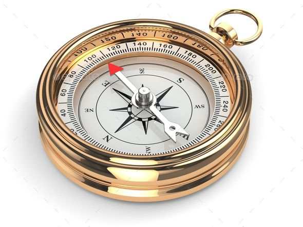 Gold compass by maxxyustas. Gold compass on white isolated background. 3d#maxxyustas, #compass, #Gold, #background