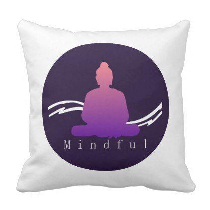 """Mindful"" Beautiful Buddha cushion. Throw Pillow - beautiful gift idea present diy cyo"