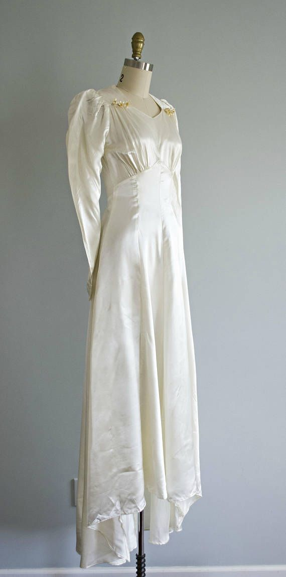 1930s off white satin wedding dress . vintage 30s simple retro ...