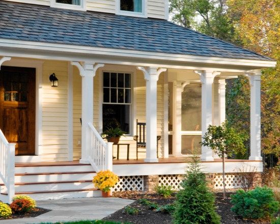 yellow house front porch stone stairs - Google Search | House ...