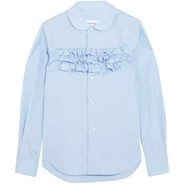 74c4b7c0 Comme des Garçons GIRL Ruffle-trimmed cotton-poplin shirt (£285) ❤ liked on  Polyvore featuring tops, blouses, peter pan shirt, peter pan collar shirts,  ...