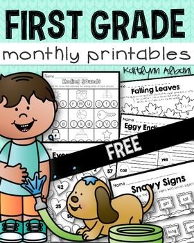 FREE - First Grade Math and Literacy Monthly Printable Pages ...