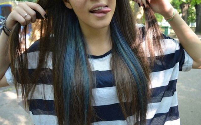 Blue Streaks Under Brown Hair Blue Tips Hair Blue Hair Hair Color Streaks