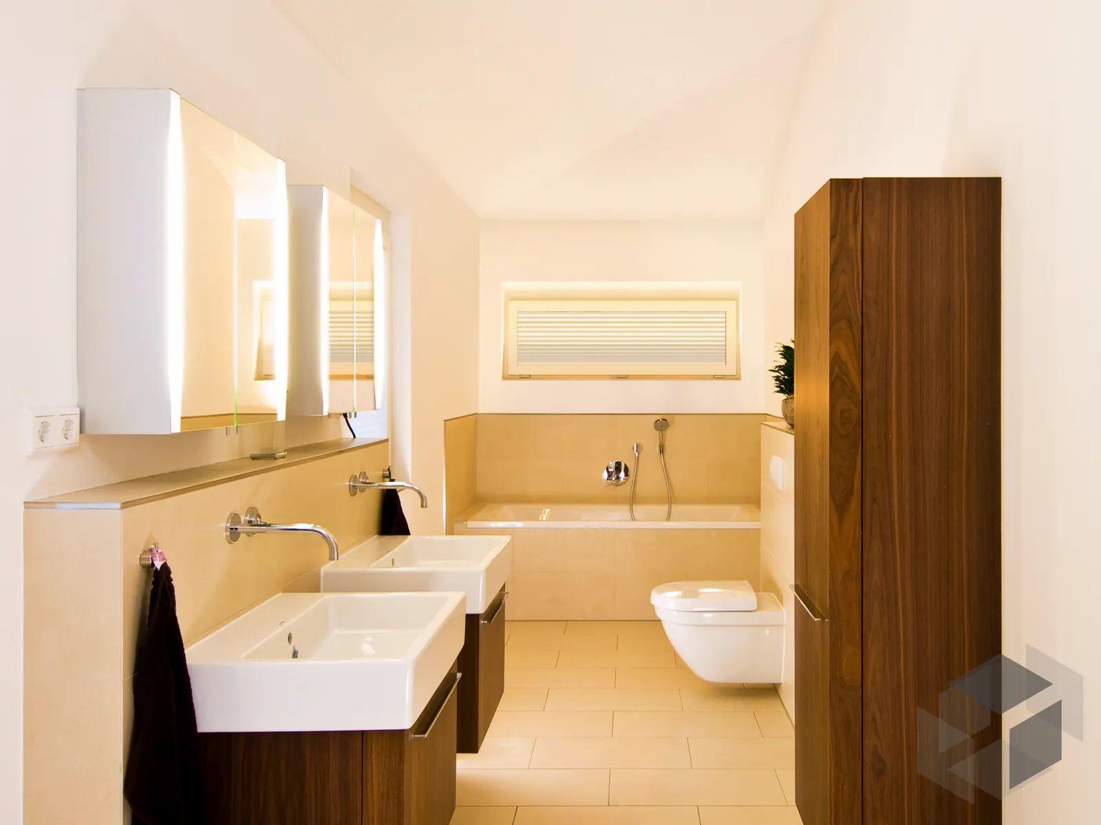 Grosses Badezimmer Mit 2 Waschbecken In 2020 Grosse Badezimmer Badezimmer Baufritz