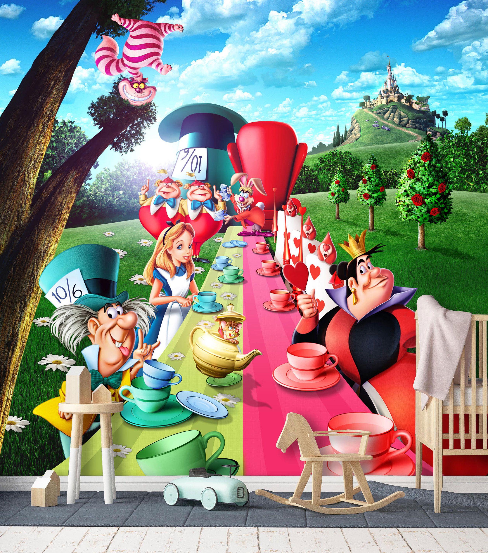 Alice In Wonderland 3 Wall Mural Alice Adventures In Wonderland Wallpaper Tea Party Wall Alice In Wonderland Tea Party Alice In Wonderland 1951 Disney Alice