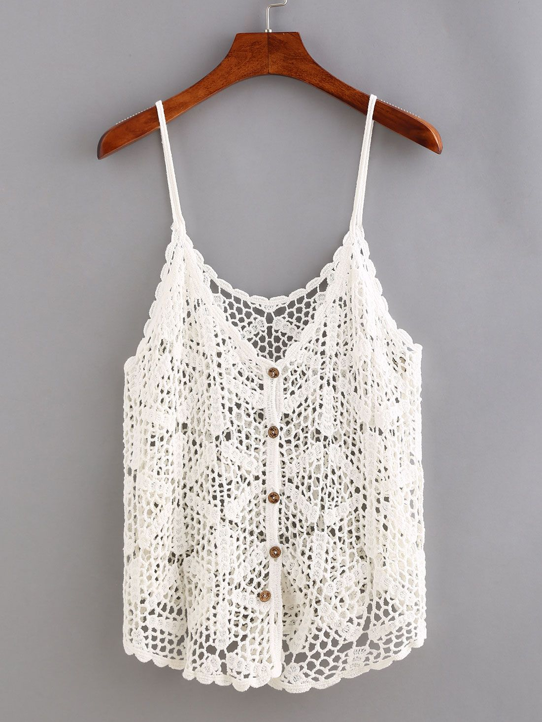 Buttoned+Front+Hollow+Out+Crochet+Cami+Top+11.99 | top | Pinterest ...