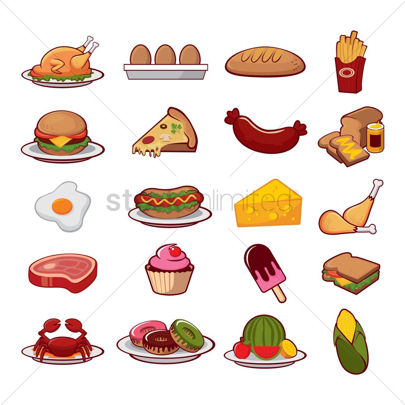 Food icon collection vector illustration