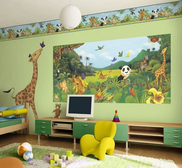 Awesome Preschool Rooms Amazing Kids Bedroom Jungle Theme Wall