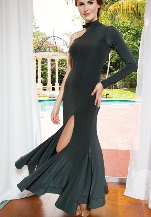 Dance America D508 - Long Crinoline Banded Ballroom Dress  Dancesport Fashion @ DanceShopper.com