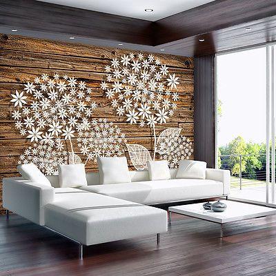 Bild Fototapete Poster Tapete Tapeten Natur Blumen Holz Brett - fototapete wohnzimmer braun