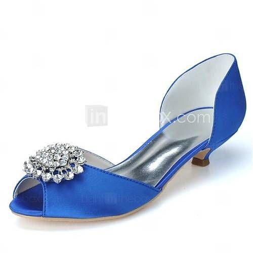 [$39.99] Femme Chaussures Satin Printemps Eté Automne Hiver Kitten Heel  Strass pour Mariage Soirée & Evénement Noir Blanc Rose Bleu Violet