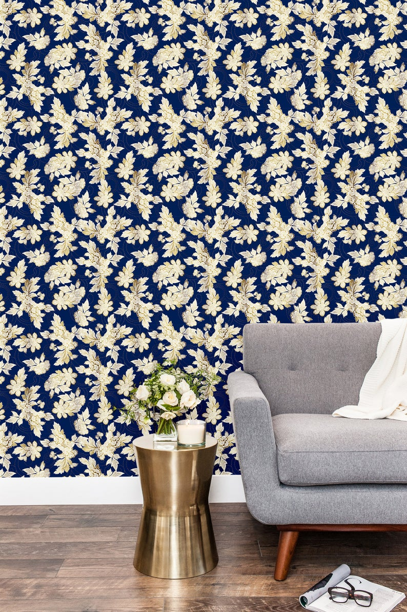 Navy And Gold Peel And Stick Wallpaper Self Adhesive Wallpaper Etsy Peel And Stick Wallpaper Self Adhesive Wallpaper Navy Accent Walls