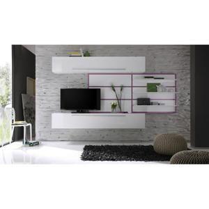 Miliboo - Ensemble mural TV Design Blanc et Lilas XENON ...