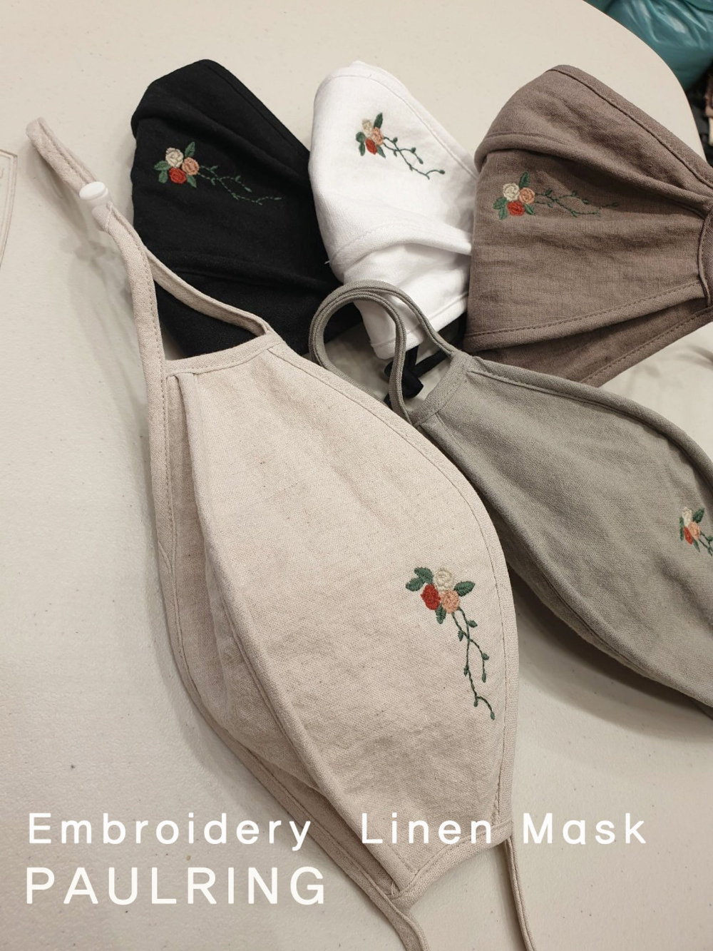 Photo of Embroidery Linen Face Mask/buy 1 get 20 filter free /Washable Mouth mask/ Protective /linen mask / Pure linen cotton Face Mask/HIGH Quality