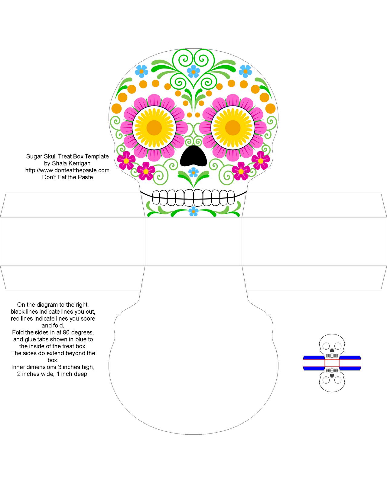 Día de los Muertos Sugar Skull Boxes | Printable box, Box templates ...