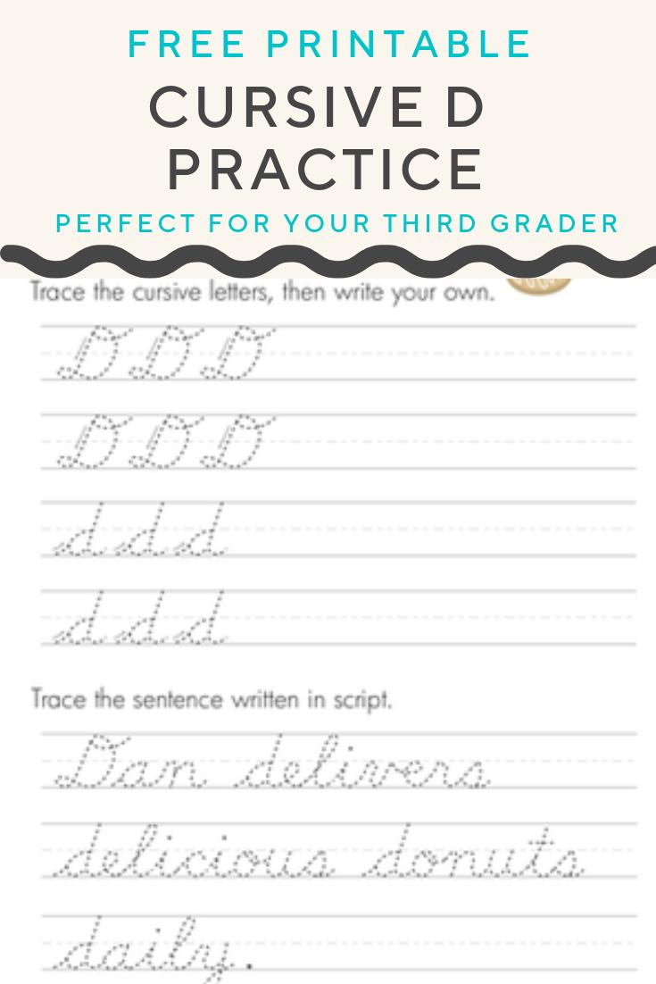 Cursive D Worksheet Education Com Elementary Writing Handwriting Analysis Writing Skills [ 1102 x 735 Pixel ]