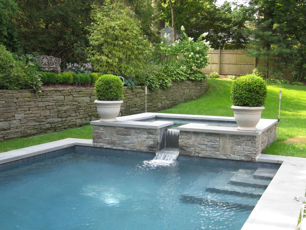 Pots Near Hot Tub With Boxwoods Garden Pool Design Backyard Pool Pool Renovation