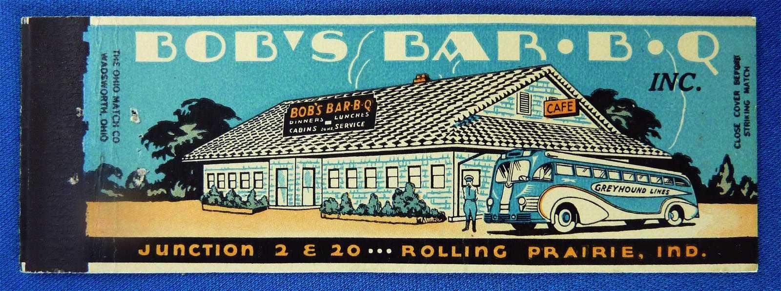 bob's barbq Matchbook, Vintage advertisements, Light