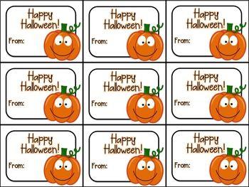 Cute Happy Halloween 2020 Printable Cute Halloween Gift Tag (Happy Halloween) in 2020