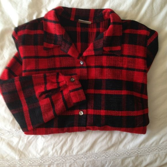Red and Black Plaid Acrylic Shirt Acrylic Black and Red Shirt Very Warm Never Worn Tops