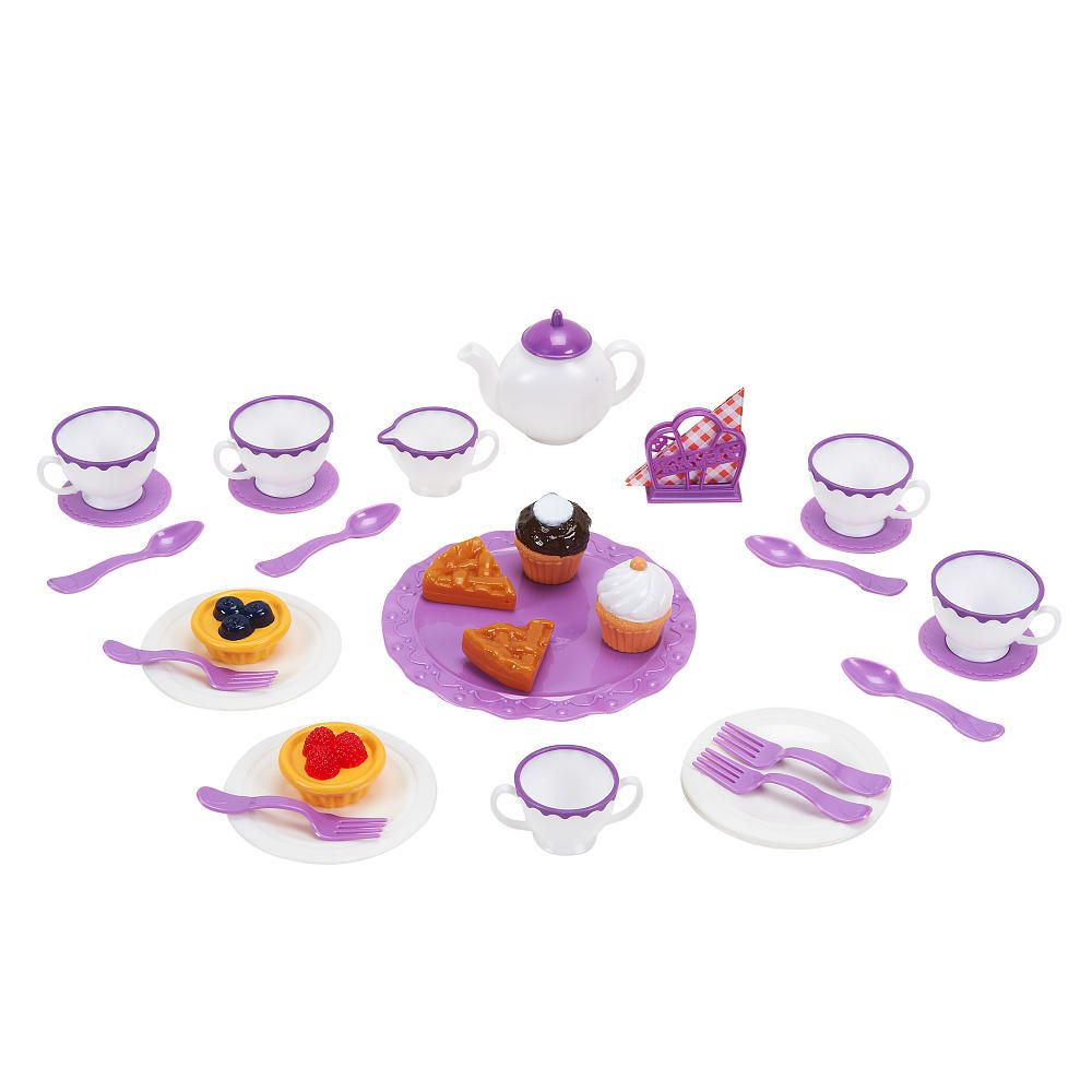 Just Like Home 40 Piece Pearlized Tea Set - White with Purple Lining ...