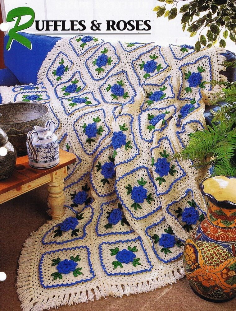 Ruffles & Roses Annie\'s Attic Crochet Afghan Pattern Instructions ...