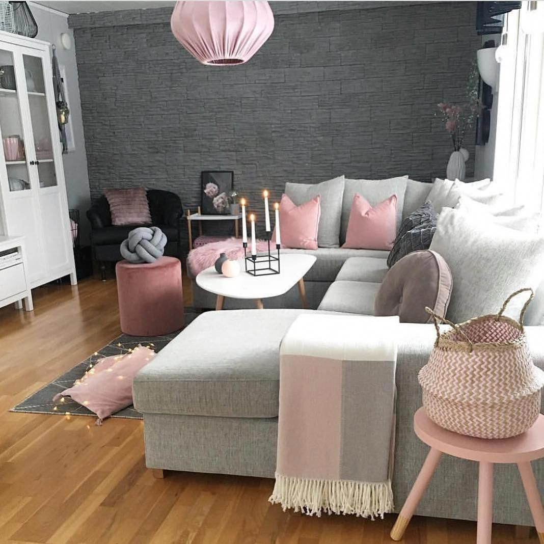 Too cute! We love pink and grey living rooms # ...