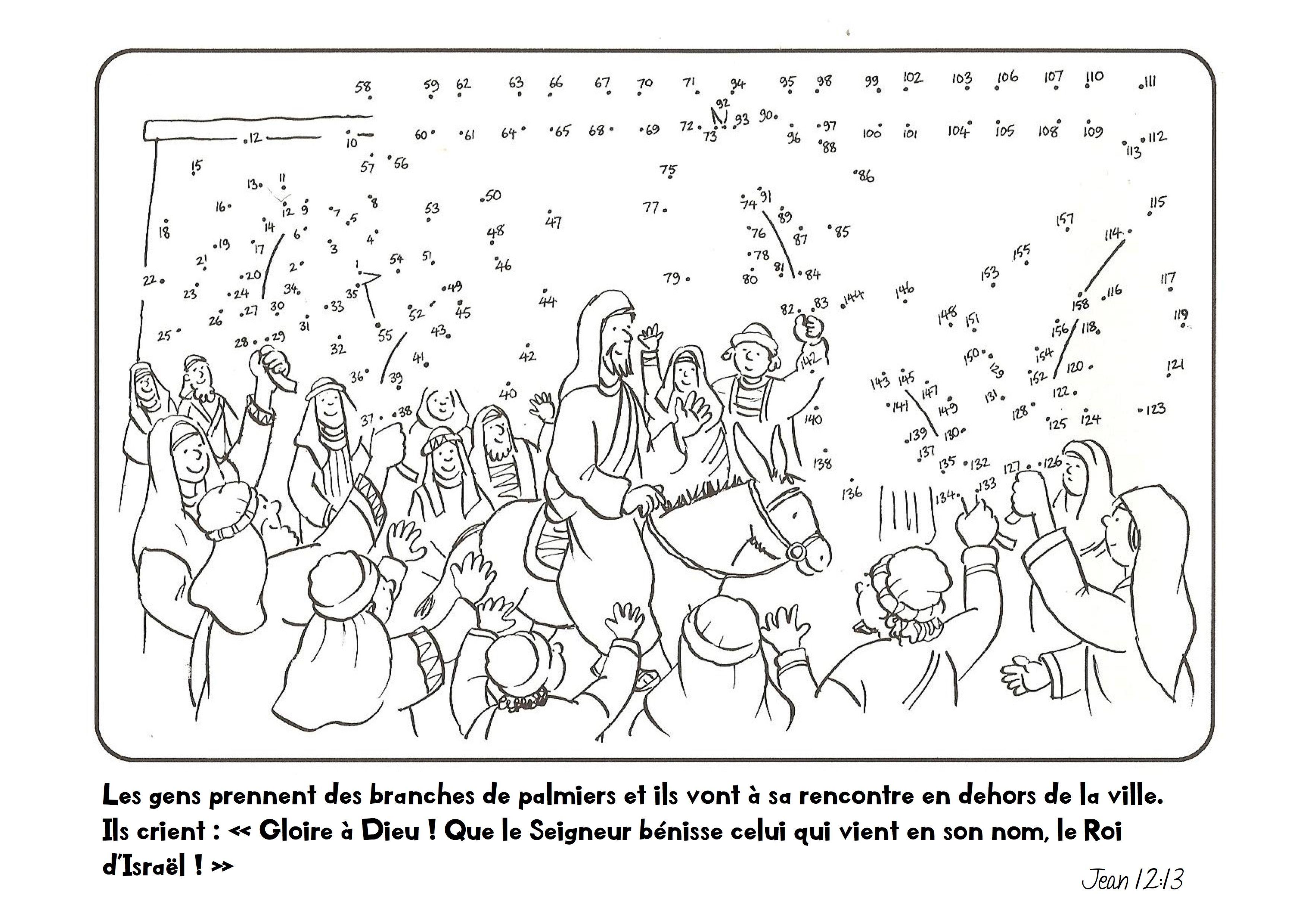 Dimanche Des Rameaux Coloriage Verset Coloring Page Sundayschool Jesus Entering Ti Jerusalem Sunday School Crafts Bible Crafts Easter Sunday School