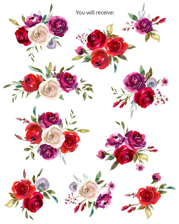 Watercolor Bouquets Clipart Floral Red Ruby Violet White Roses