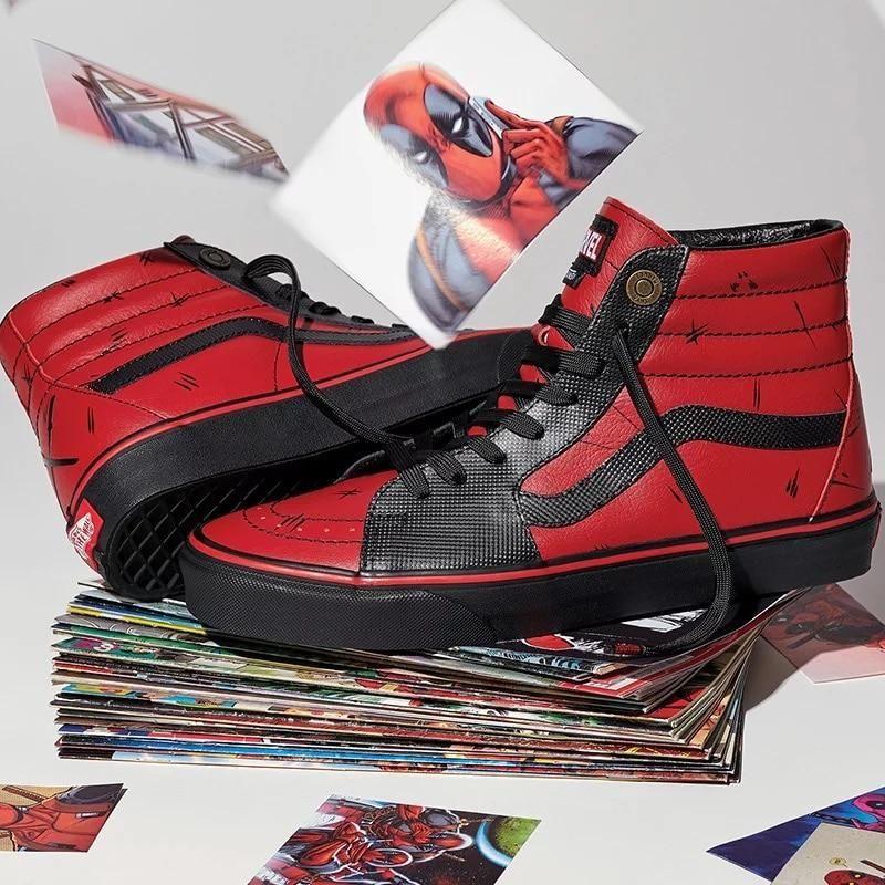 Original Vans x Marvel Classic Black / Red Sk8-Hi Sneakers Shoes ...