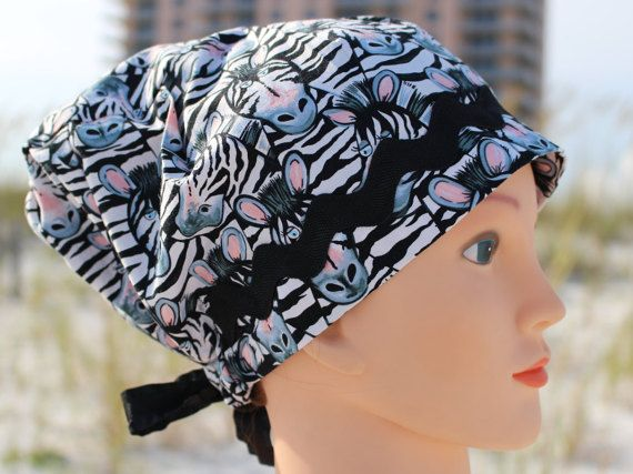 Zebra Faces Womens Scrub Hat by SharrisCuteCaps on Etsy