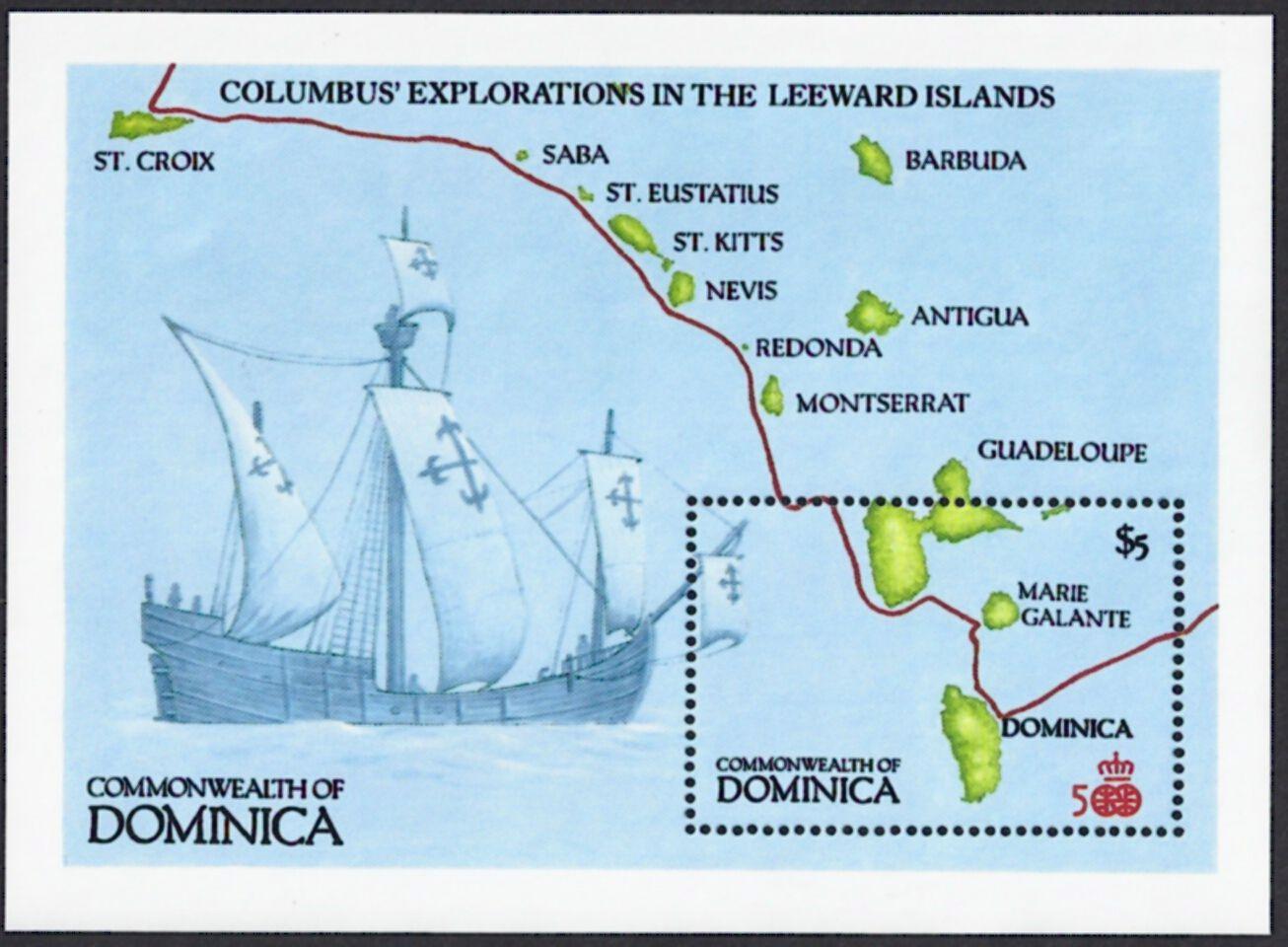 Dominica Scott 27 Jul Souvenir Sheet Of Map