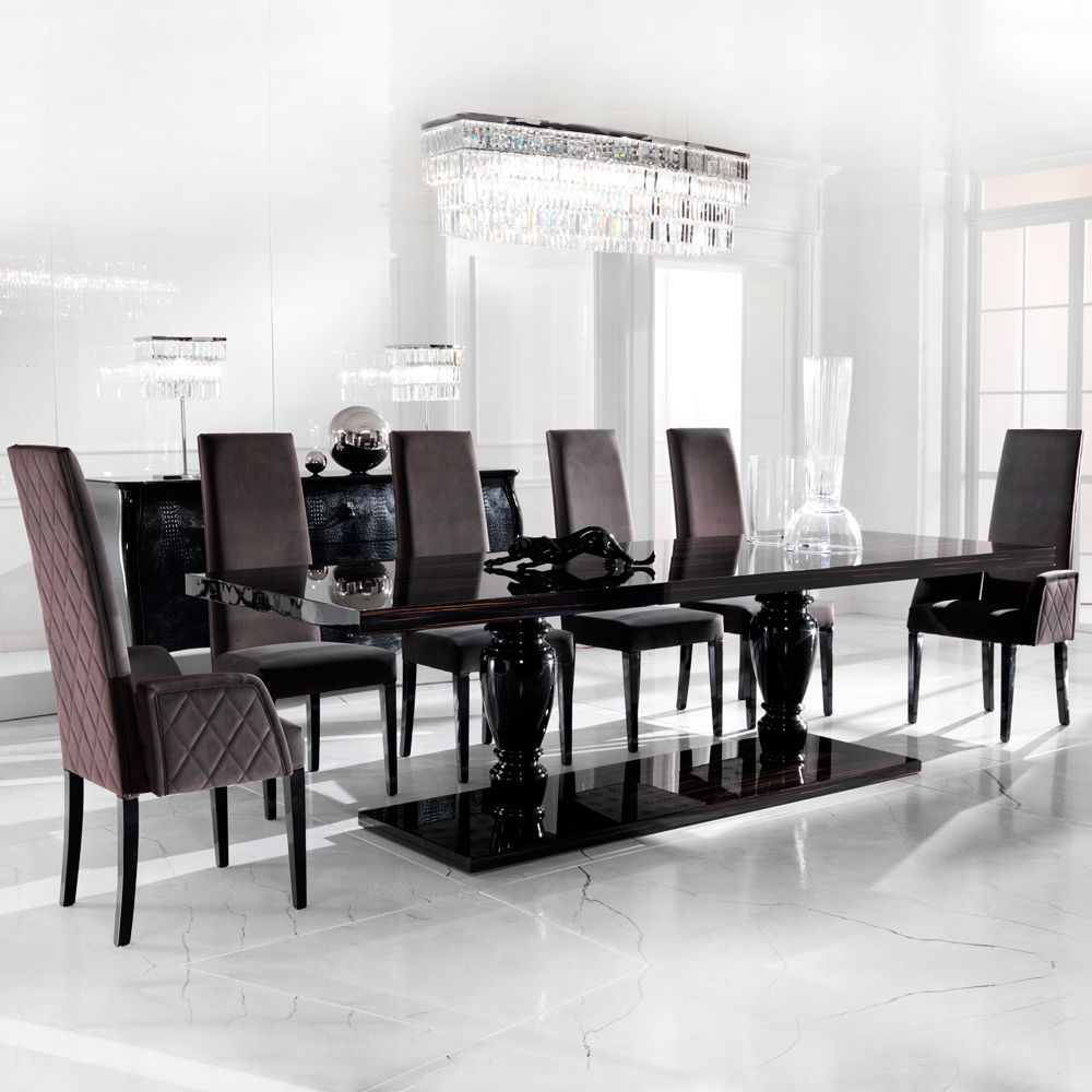 Large Ebony Dining Table Set In 2020 Dining Table Interior