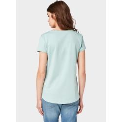Photo of Tom Tailor Denim Damen T-Shirt mit Neon Schrift-Print, grün, unifarben mit Print, Gr.L Tom TailorTom