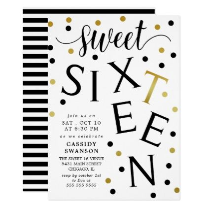 black faux gold typography sweet sixteen card invitation ideas