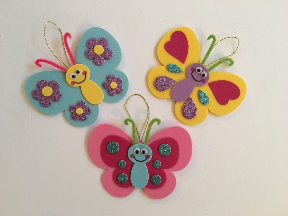 Details about Foam Craft Kit Butterflies Fun Kids Activity Spring Easter Gift Flowers Shapes