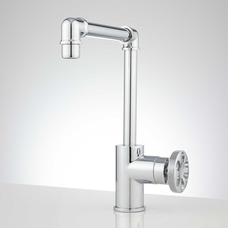 Edison Tall Single Hole Brass Bathroom Faucet With Pop Up Drain