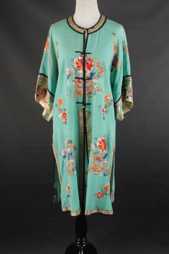 VTG 1920s 1930s Women's M Jade Silk Robe w/ Floral Embroidery #1281 20s 30s